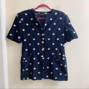 Escada gold star button front short sleeve jacket